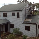 Residential repaint requiring scaffold construction